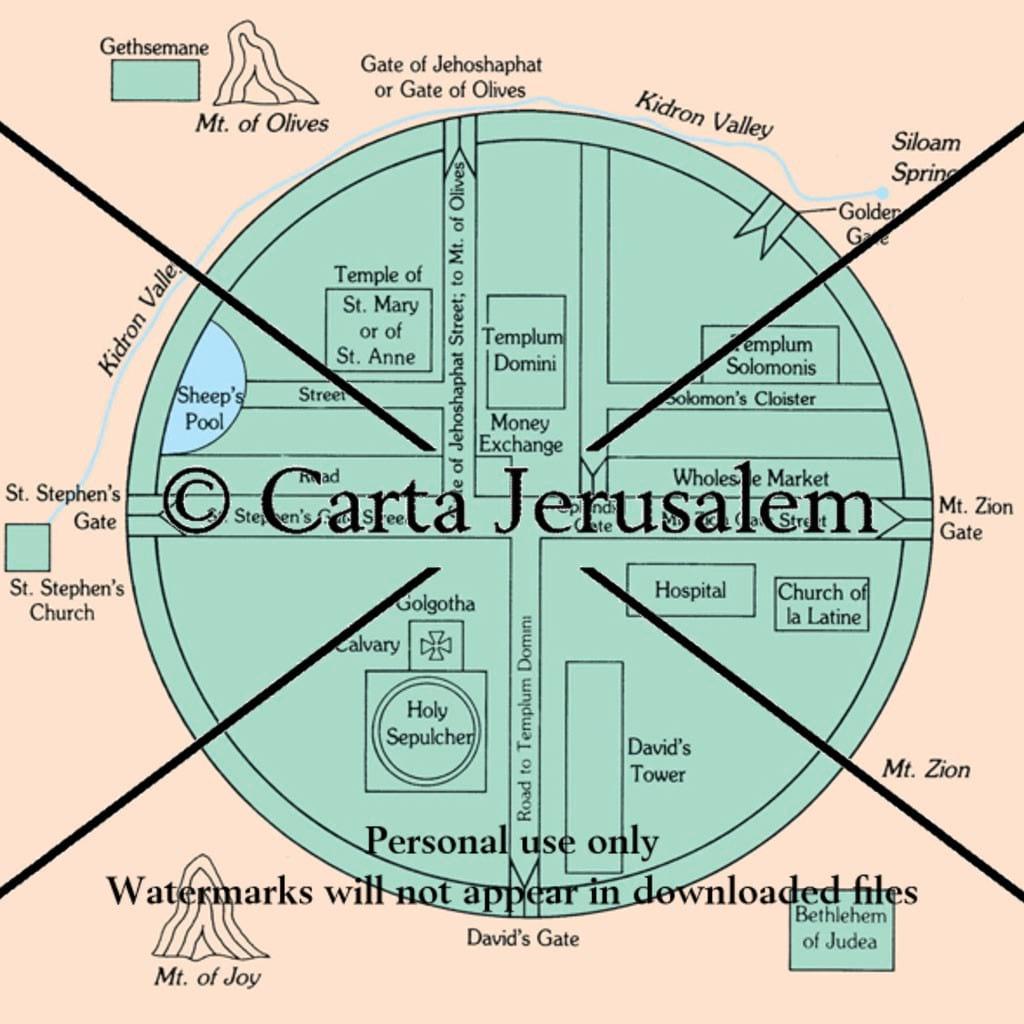 Schematic Diagram Of Circular Maps Jerusalem Biblewhere Shopping Cart